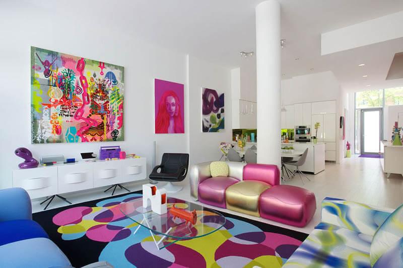 sala da pranzo in stile pop art